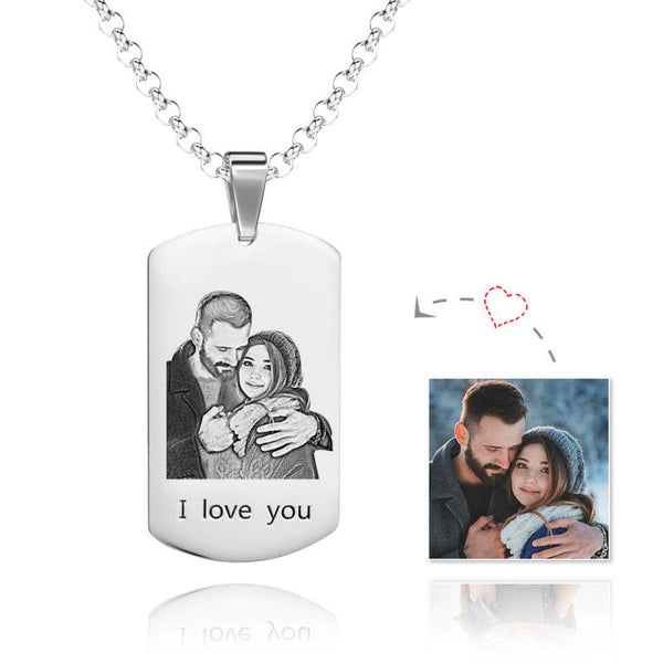Personalized Engraving Photo Necklace Stainless Steel