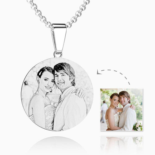 Women's Round Engraved Photo Necklace