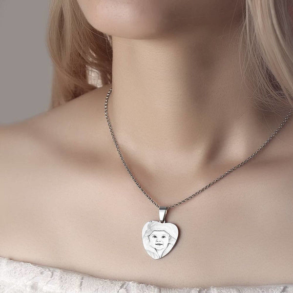 Women's Heart Engraving Photo Necklace Stainless Steel
