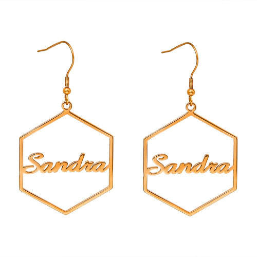 Hexagon Custom Name Earrings Gold Plating