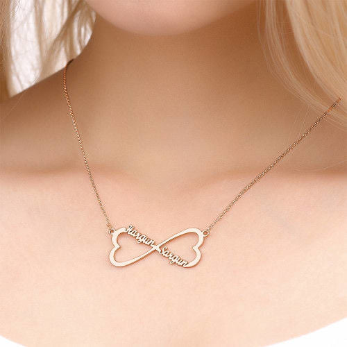 18K Gold Plated Personalized Infinity Heart Necklace Two Names - Silviax
