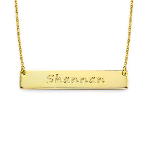 18k Gold Personalized Bar Necklace With Name - Silviax