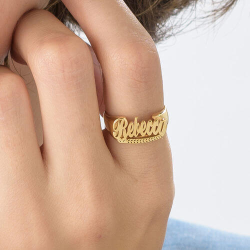 18K Gold Plated Personalized Customized Name Ring - Silviax