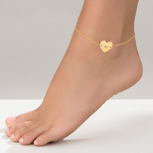 18k Gold Plated Heart Anklet With Name Pendant