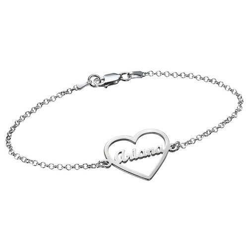 925 Sterling Silver Heart Bracelet with Name - Silviax