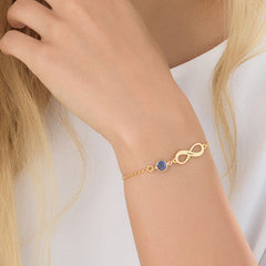 18K Gold Plated Infinity Bracelet With Birthstone - Silviax