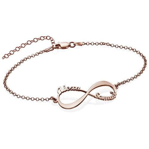 18K gold plated Infinity Bracelet with Names - Silviax