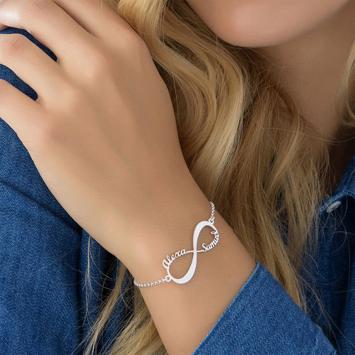 Sterling Silver Personalized Infinity Bracelet With 2 Name Pendant