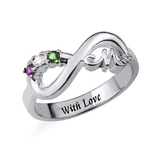 Inner Engraving Infinity Ring for Mom birthstone