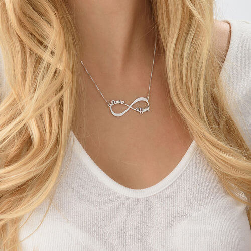 Personalized Infinity Couples Name Necklace with 2 Loves Name For Girl Gift