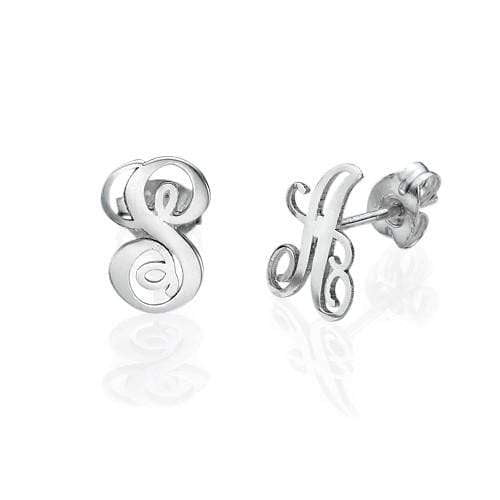 Sterling Silver Initial Stud Earrings