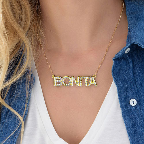 18K Gold Plated Personalized Crystal Name Necklace