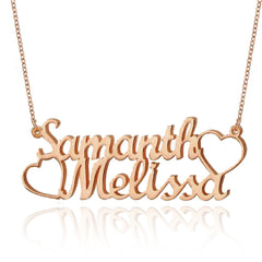 18K Gold Plated Personalized Two Names and Heart Pendant Name Necklace - Silviax