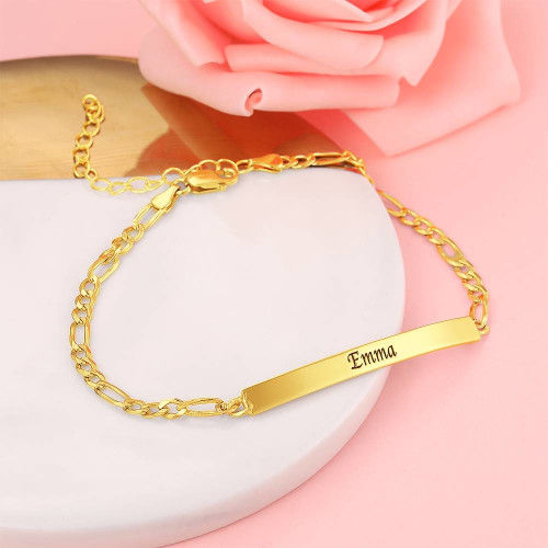 18K Gold Plated Custom Engraved Bar Anklet