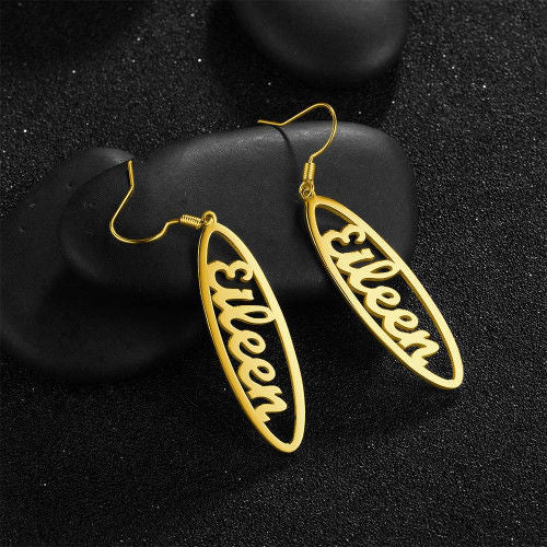 Drop Simple Style Name Earrings 18K Gold Plating