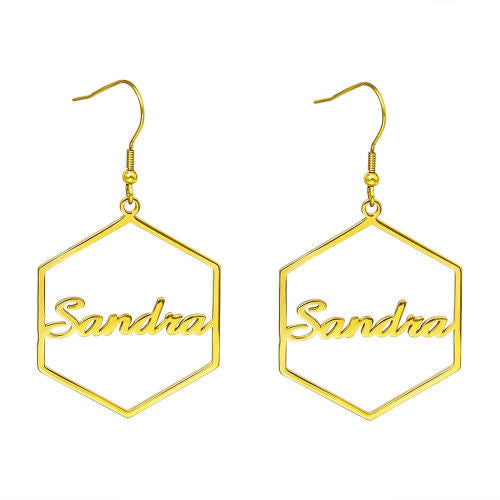 Hexagon Custom Name Earrings 18K Gold Plating