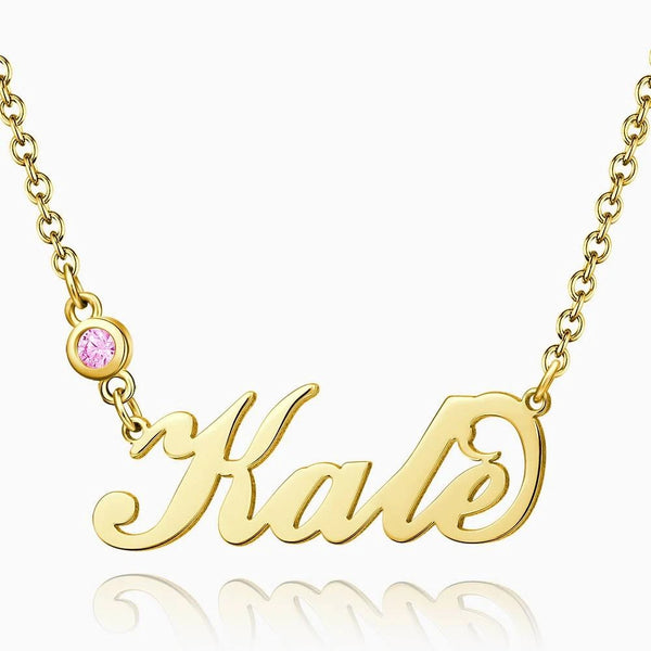 Personalized Birthstone Name Necklace 18K Gold Plated