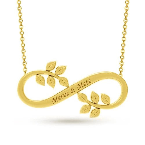 18K Gold Plating  Name Infinity Necklace Leaf Personalized