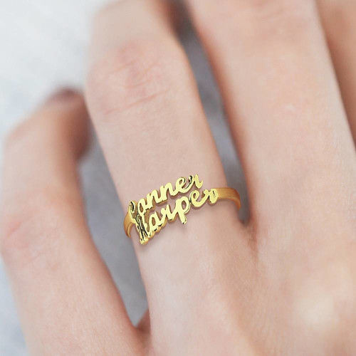 18K Gold Personalized Name Ring with two name For Girlfriend - Silviax