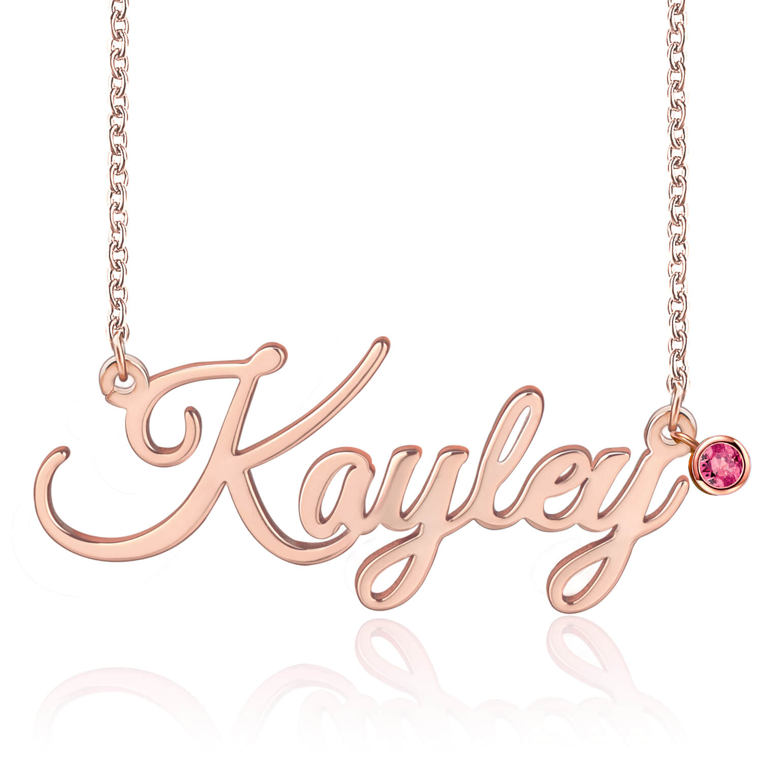 18K Gold Plated Personalized Name Necklace With Birthstone - Silviax