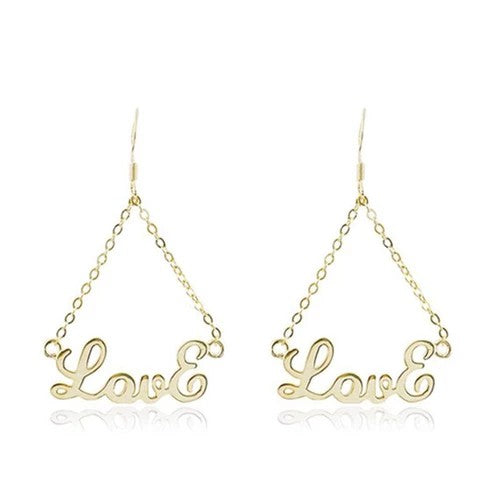 18k Gold Plated Personalized Triangle Name Earrings - Silviax