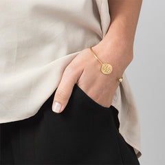 Monogram Bangle Bracelet in 18K Gold Plating