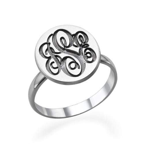 Monogram Ring Sterling Silver Gift For Girls or Boys
