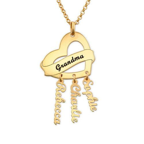 18K Gold  Mother's Necklace With 3 Name Personalized Family Necklace