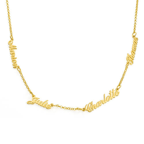 18K Gold Plated Personalized Family Members Name Necklace