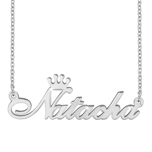 Women Crown Name Necklace 18K Gold Plating