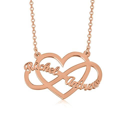 18K Gold Heart & Infinity Necklace With Two Name Girl Gift - Silviax