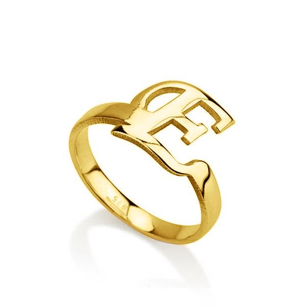 18K Gold Plated Personalized Initial Letter Ring
