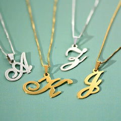 925 Sterling Silver Pendant Letter Initials Necklace - Silviax