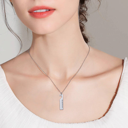 Cut Out Heart Couple Bar Necklace Vertical Pendant