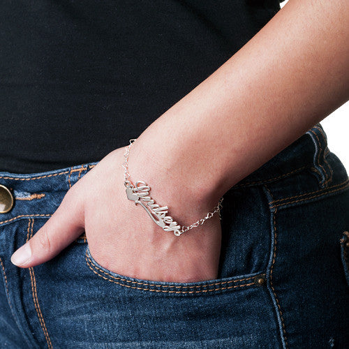Side Heart Bracelet With Name Sterling Silver