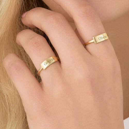 18K Gold Plated Name Personalized Customized Ring