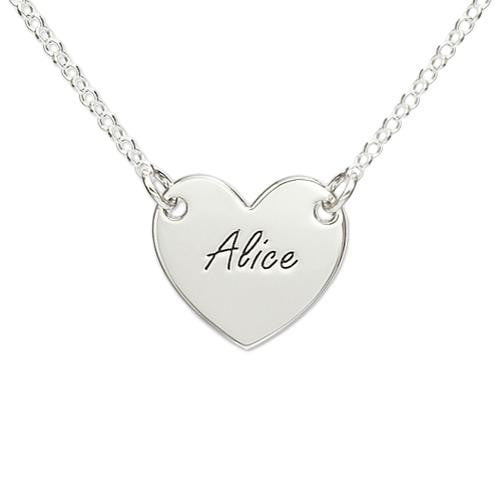 18k Gold Plated Engraved Name Heart Necklace - Silviax