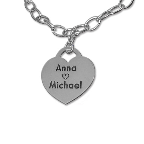 Heart Bracelet For Lovers Girlfriend Sterling Silver 2 Names