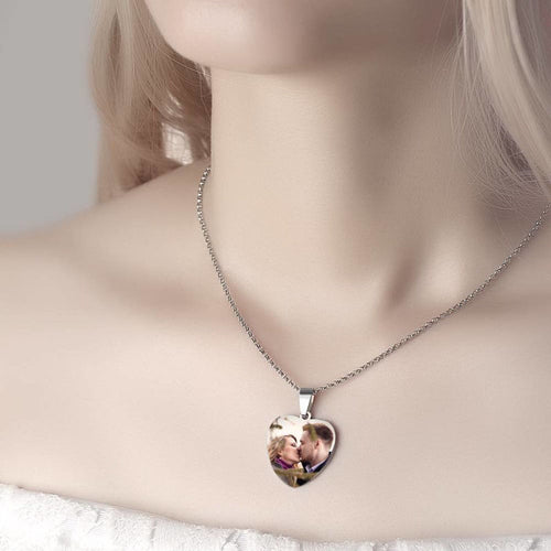 Stainless Steel Engraved Heart Tag Photo Necklace - Color Printing