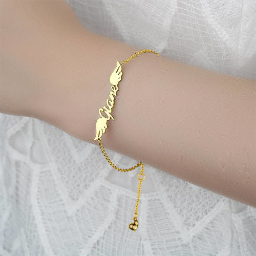 18K Gold Plated Personalized Angel Wings Name Bracelet - Silviax
