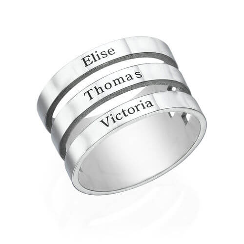Three Names Custom Ring Gold Plated