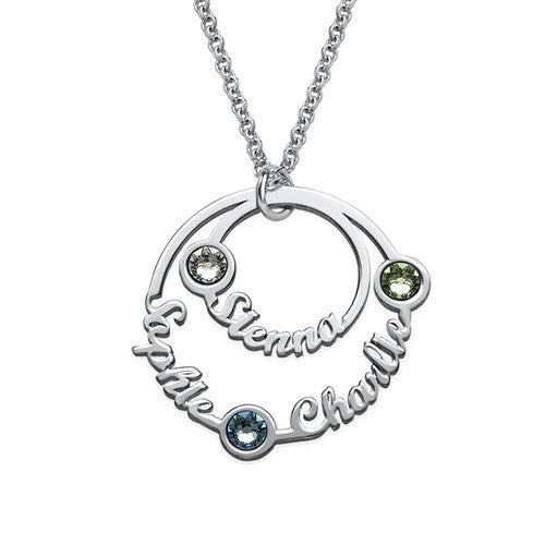 Personalized Two Circle Script Name Necklace