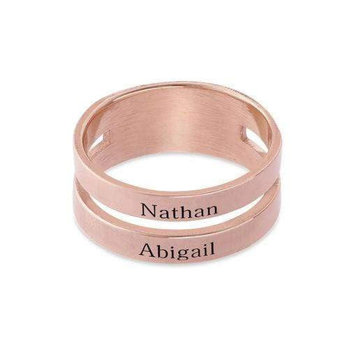 Two Name Ring with 14K Gold Plating