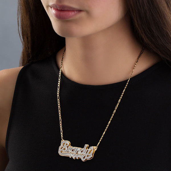 Double Layer Customized Two Tone 18K Gold Plated Name Necklace