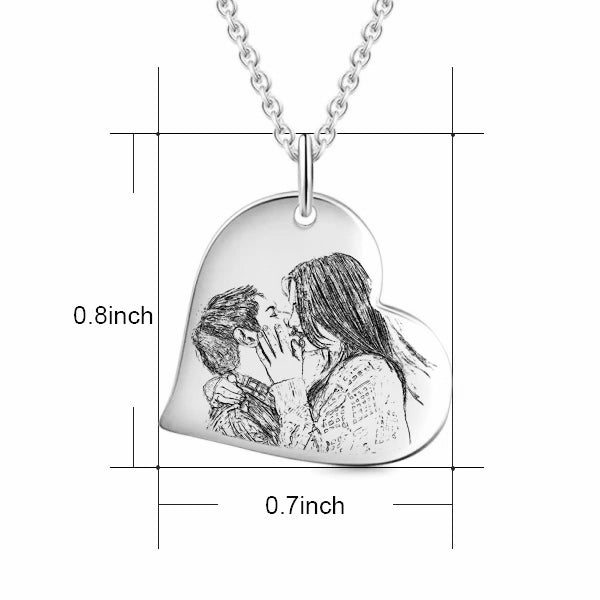 Love Heart Stainless Steel Personalized Engraved Photo Necklace