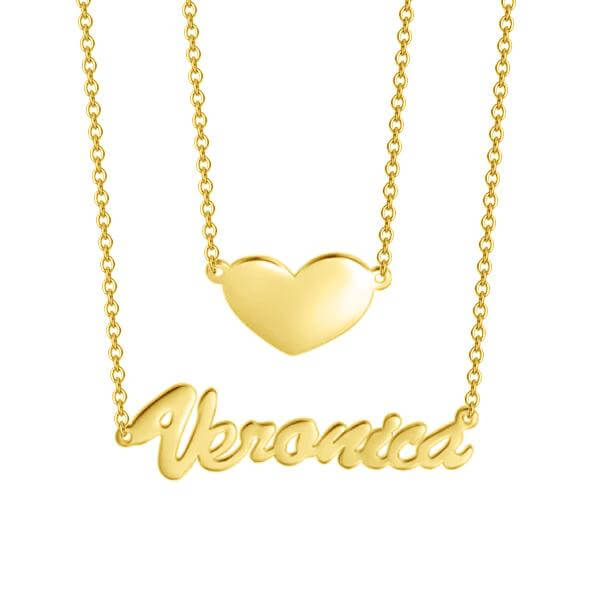 Two Layers Personalized Heart Name Necklace Gold Plated