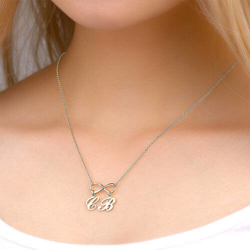 18K Gold Plated Personalized Initials Infinity Necklace - Silviax