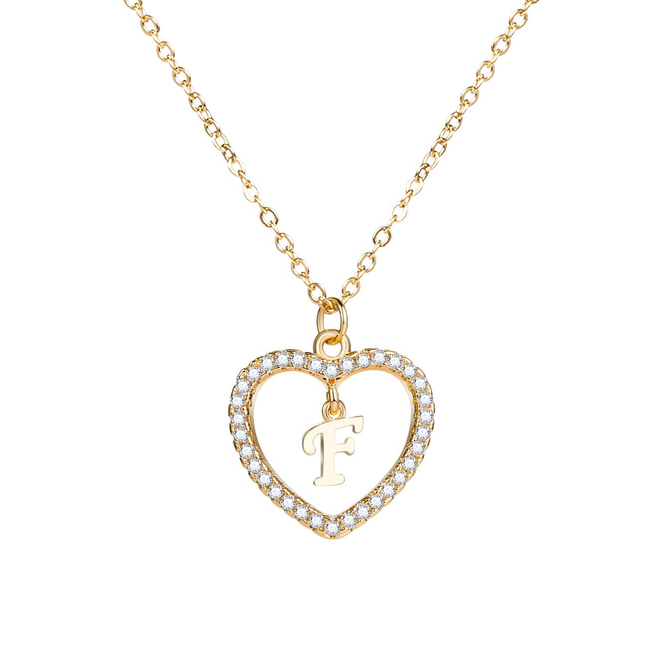 Love Heart 18K Gold Plated Letter Initial Necklace