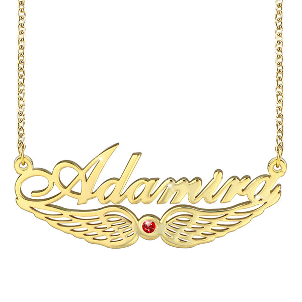 Angel Wing Classic Name Necklace 18K Gold plated