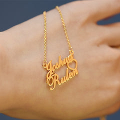 Heart Name Necklace 18K Gold Pendant With Two Name
